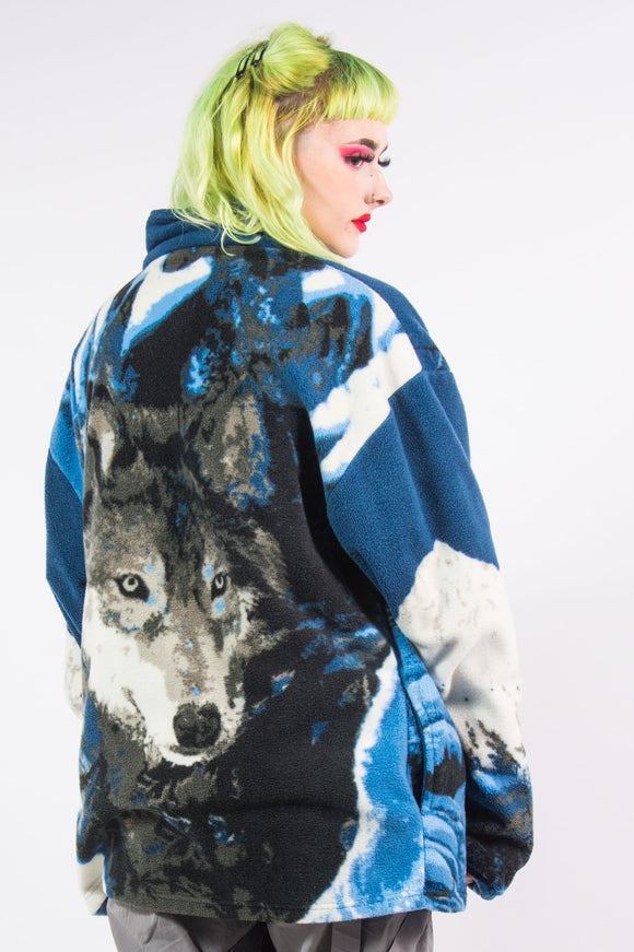 Vintage 90's Blue Wolf Fleece Jacket