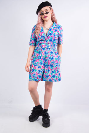Vintage 80's Collared Floral Playsuit