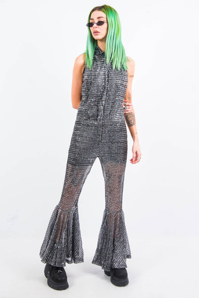 Vintage 70's Sequin Sparkle Flared Jumpsuit