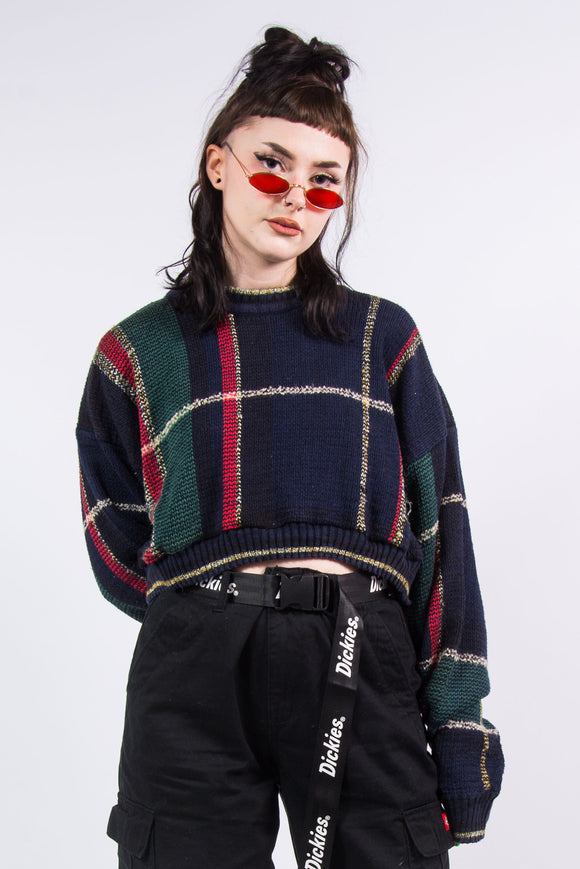 Vintage 90's Grunge Check Knit Cropped Jumper