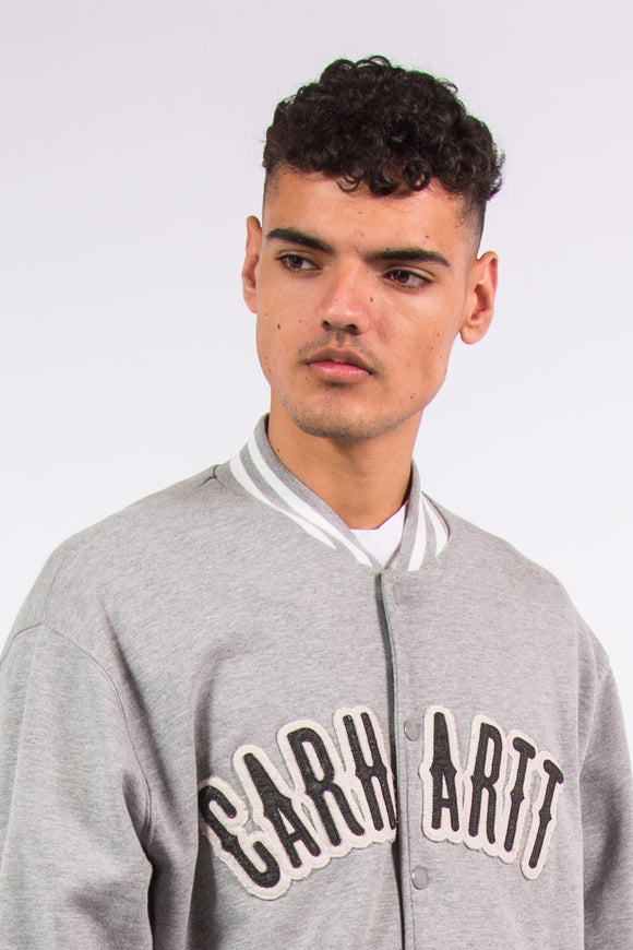Grey Carhartt spell out baseball style jacket with snap fastenings