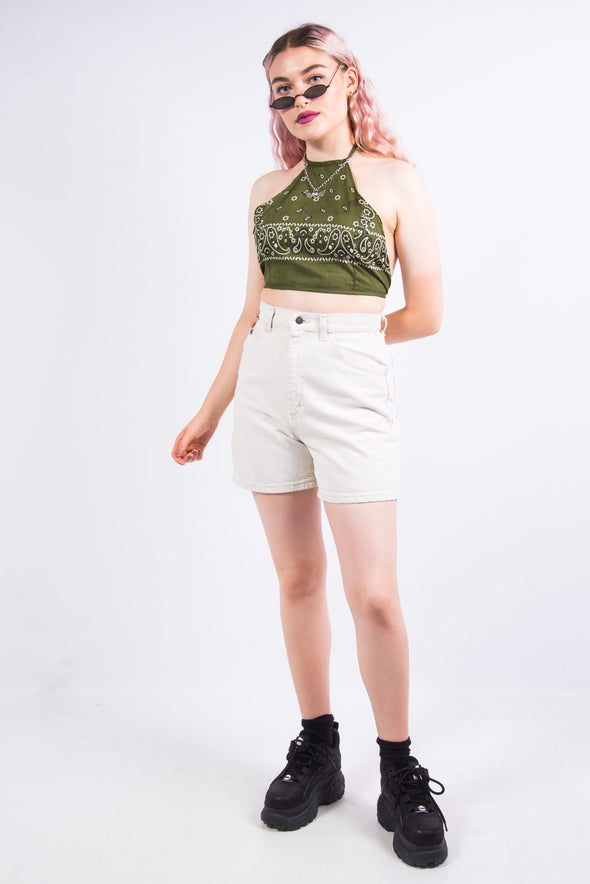 Rework Olive Green Bandana Crop Top