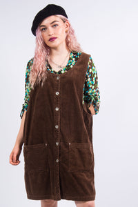 Vintage 90's Chunky Cord Pinafore Dress