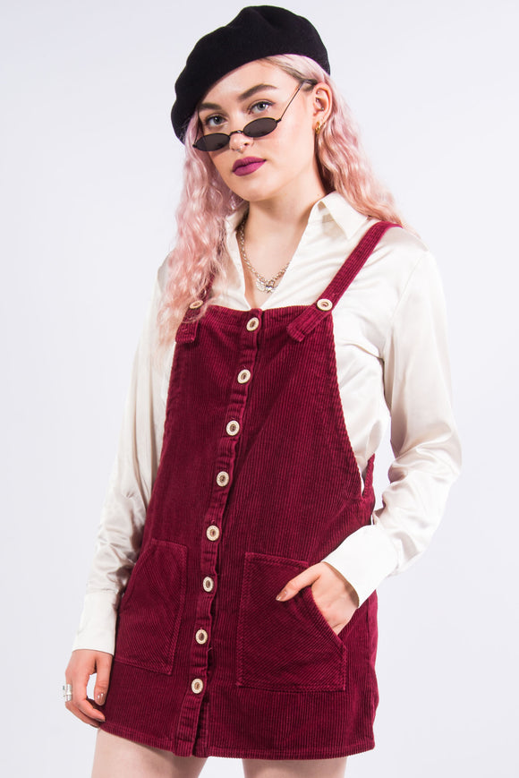 Vintage Burgundy Cord Pinafore Dress
