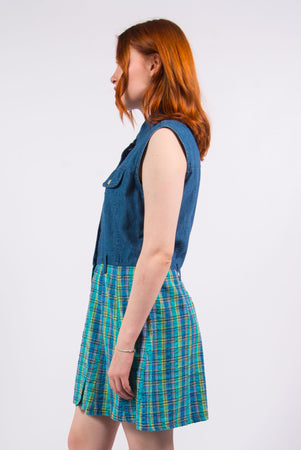 Vintage 90's Denim Checked Dress