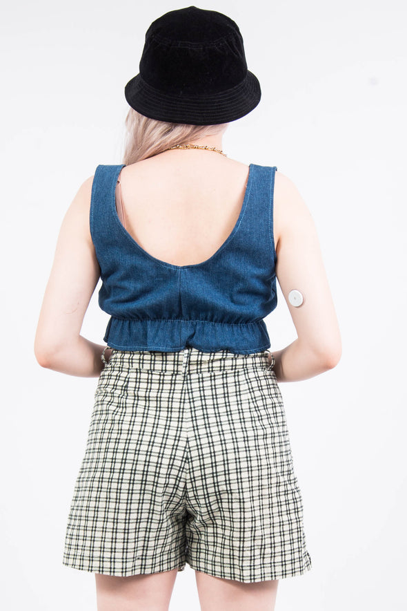 Denim Patchwork Frill Crop Top