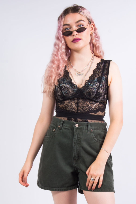 Vintage 90's Green Denim Mom Shorts