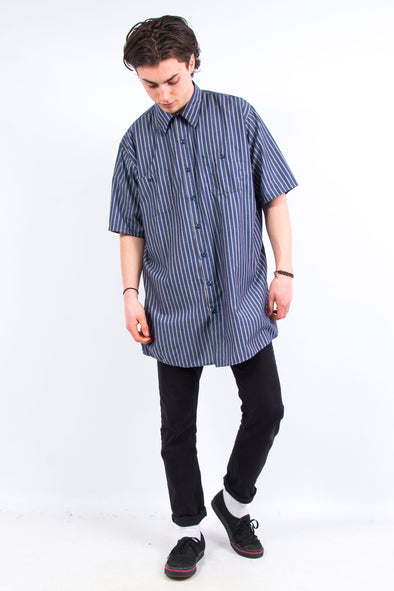Vintage Longline Red Kap Striped Work Shirt