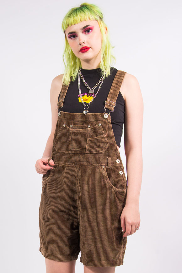 Vintage 90's Brown Cord Short Dungarees