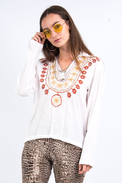 Vintage 90's Boho Embroidered Top