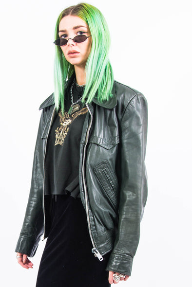 Vintage 70's Green Leather Jacket