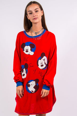 Vintage 80's Disney Mickey Mouse Sweater Dress