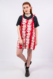 Vintage 90's Red Floral Pinafore Dress