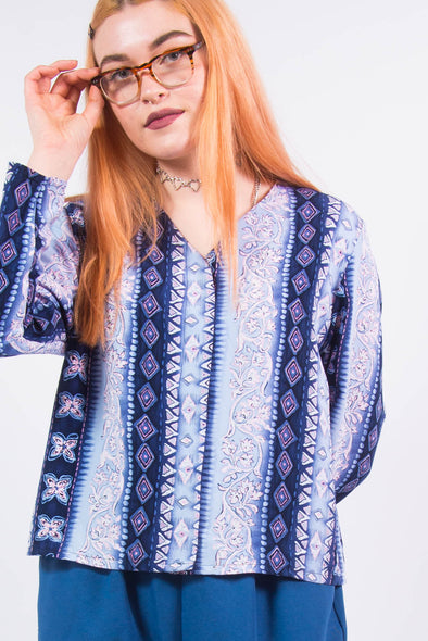 Vintage 90's Blue Abstract Print Shirt
