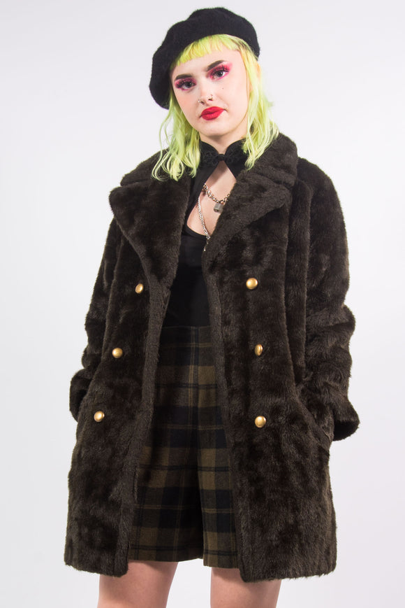 Vintage 90's Faux Fur Coat