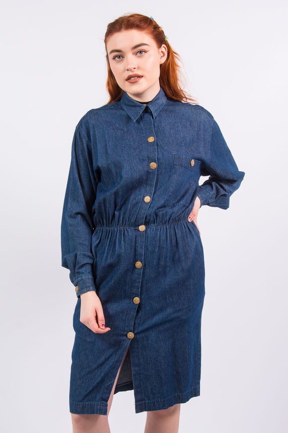 Vintage 90's Denim Long Sleeve Shirt Dress