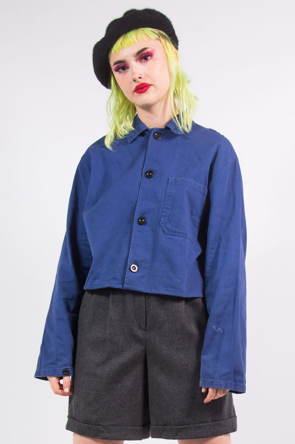 Vintage 90's Cropped French Worker Jacket