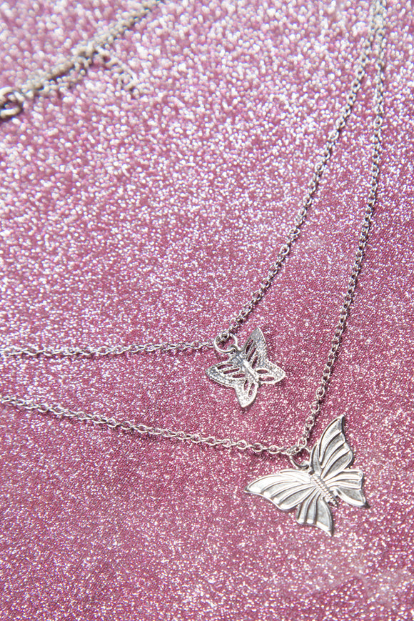 90's Cute Butterfly Double Layer Necklace