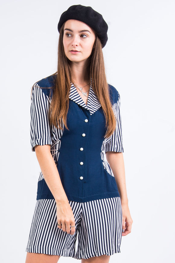 Vintage 90's Striped Navy Playsuit