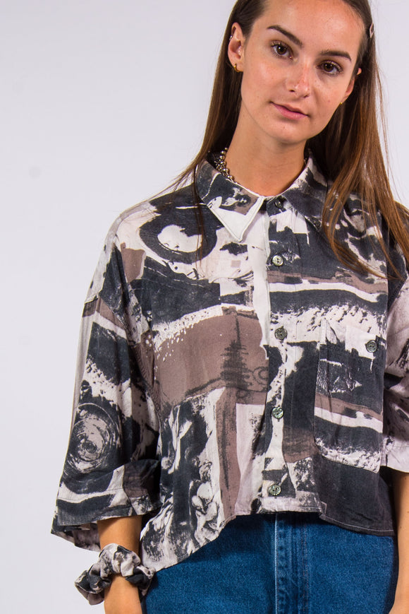 Vintage 90's Abstract Print Cropped Shirt and Scrunchie