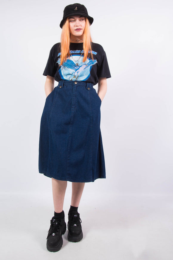Vintage 90's Dark Blue Denim Midi Skirt