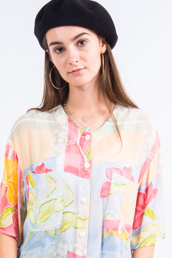Vintage 90's Floral Sheer Blouse Shirt