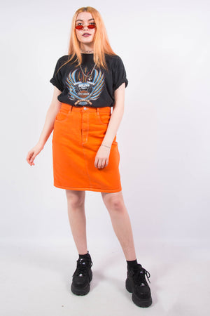 Vintage 90's Orange Denim Mini Skirt