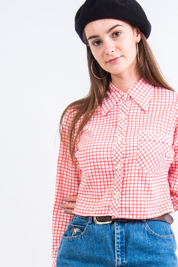 Vintage 70's Red Check Western Style Shirt