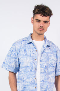 Vintage Retro Blue Hawaiian Shirt