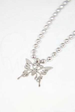 Y2K Silver Butterfly Necklace