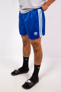 Vintage Adidas Shiny Blue Three Stripe Shorts