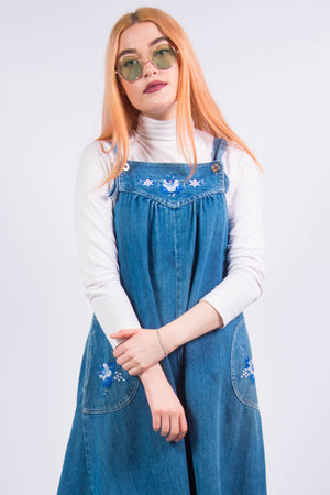 Vintage 90's Embroidered Denim Pinafore Dress