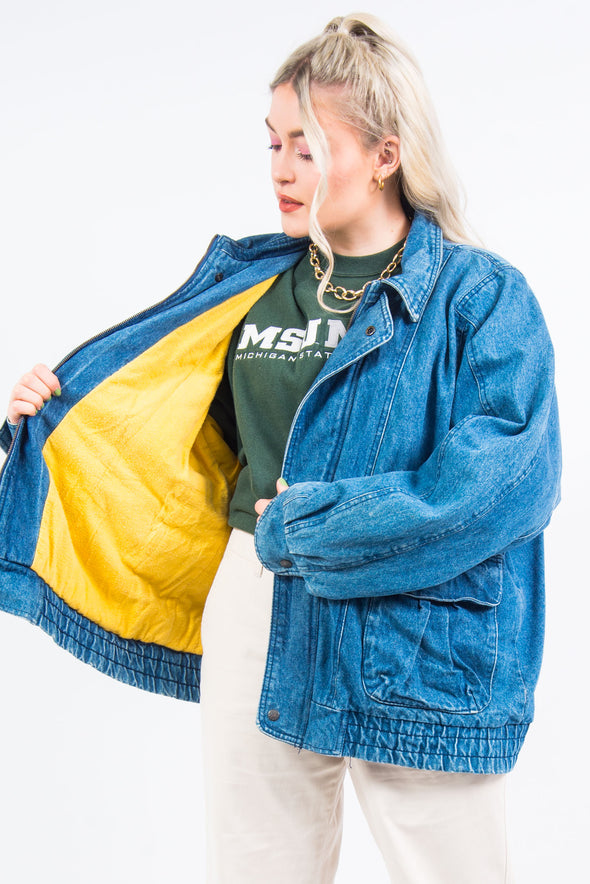 Vintage 90's Lined Denim Bomber Jacket