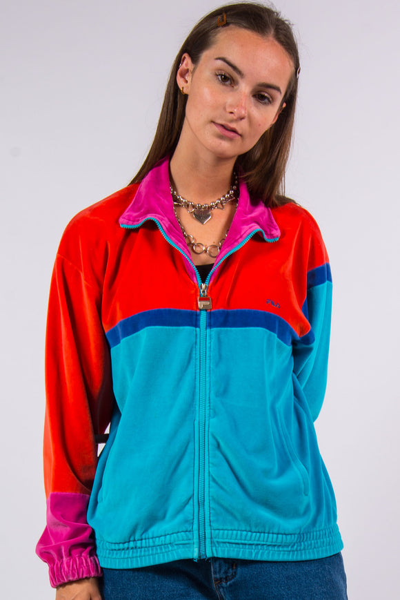 Vintage 90's Fila Velvet Colour Block Sports Jacket