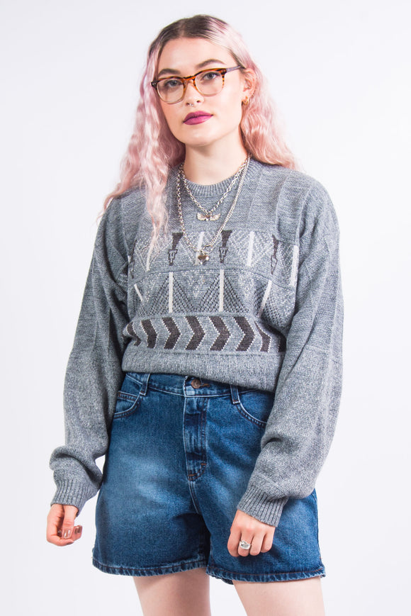 Vintage 90's Grey Grandad Knit Jumper