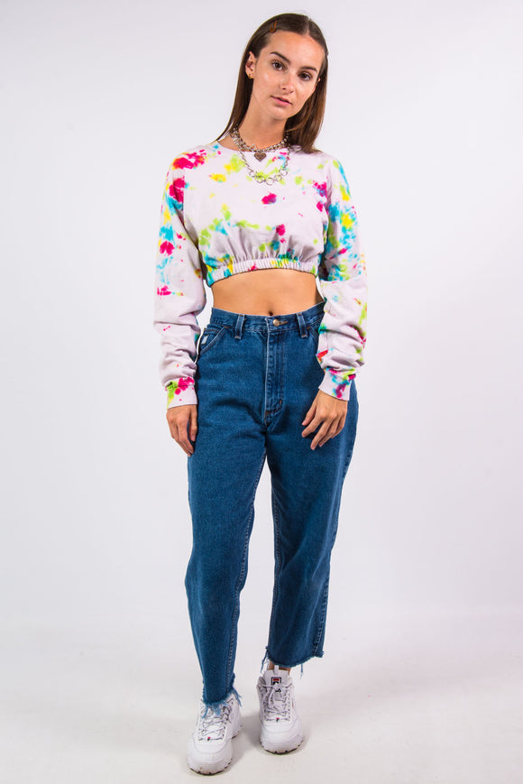 Vintage 90's Cropped Long Sleeved Tie Dye T-Shirt