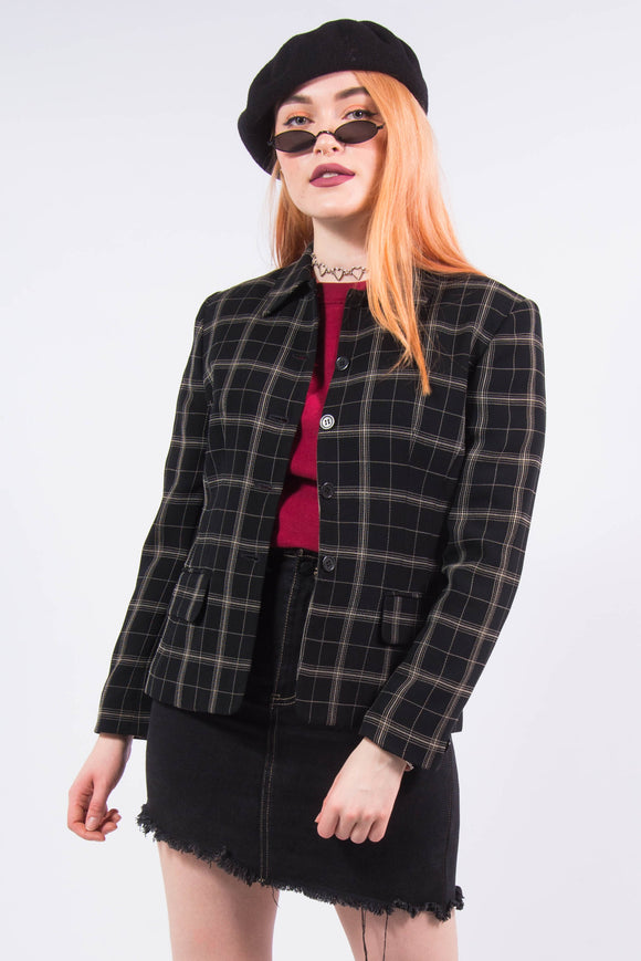 Vintage 90's Clueless Black Check Blazer Jacket