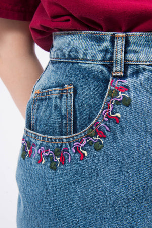 Vintage 90's Embroidered Denim Mini Skirt
