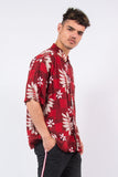 Vintage Red Leaf Print Hawaiian Festival Shirt