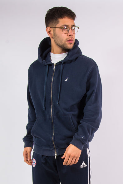 Nautica navy blue zip fasten hooded sweatshirt