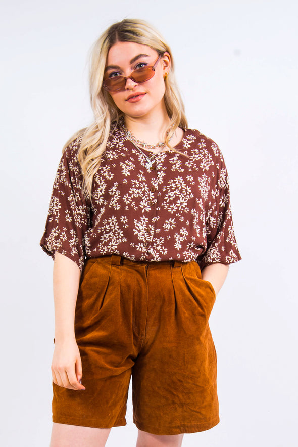 Vintage 90's Floral Brown Patterned Blouse Shirt