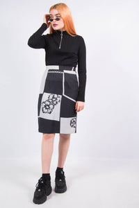 Vintage 90's Abstract Floral Print Pencil Skirt