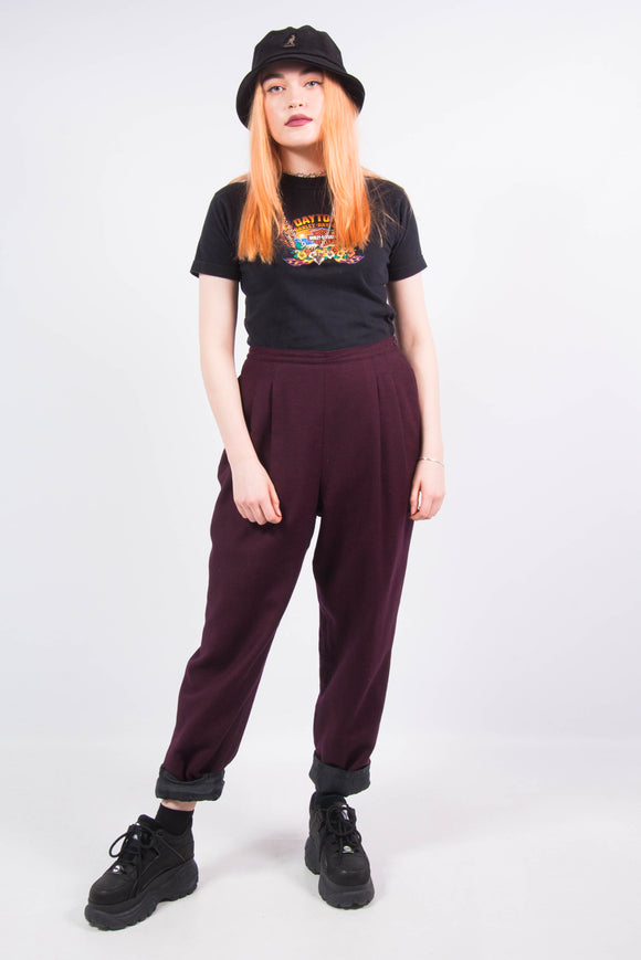 Vintage 90's Maroon Wool Fine Check Trousers