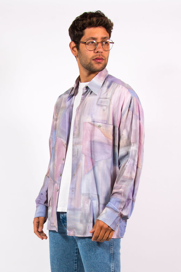90's Vintage Pastel Abstract Pattern Shirt