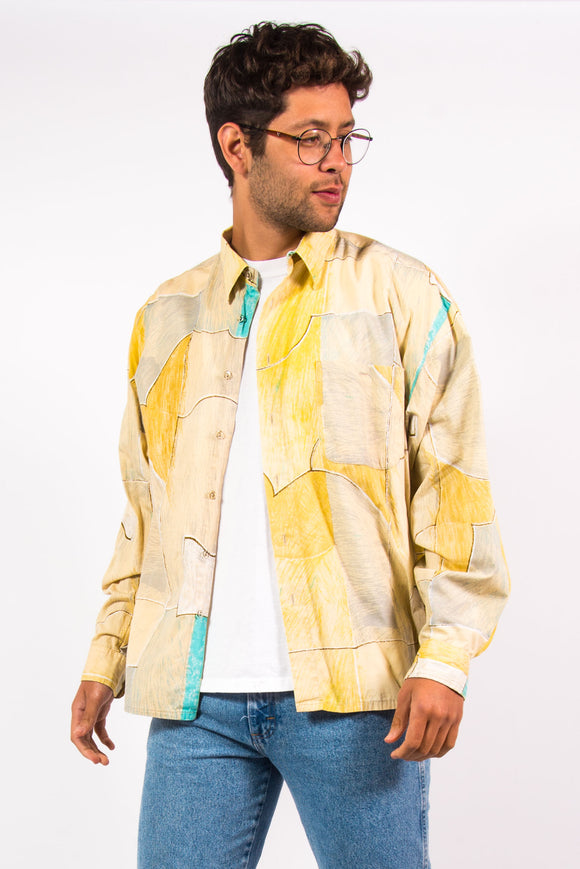 90's Vintage Yellow Crazy Pattern Shirt