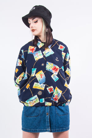 90's Vintage Nautical Print Bomber Jacket