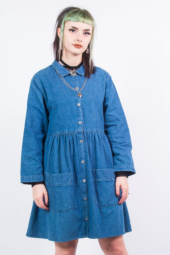 90's Vintage Denim Smock Mini Dress