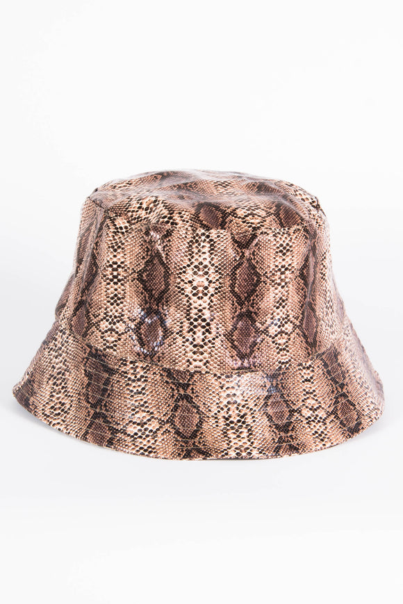 Snakeskin Bucket Hat - Brown