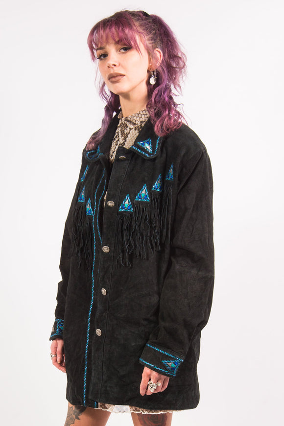 Vintage 90's Embroidered Western Suede Jacket