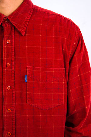 90's Red Checked Cord Shirt